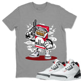 Air Jordan 3 SE Fire Red Sneaker Matching Tee and Outfit Heather Grey Killer T Shirt Image