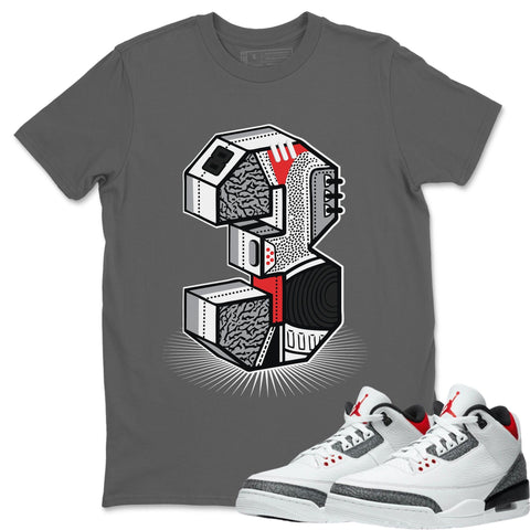 Air Jordan 3 SE Fire Red Sneaker Matching Tee And Outfit Cool Grey Three Statue T Shirt Image