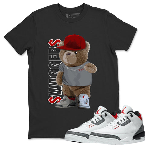 Air Jordan 3 Fire Red Sneaker Matching Tee and Outfits Bear Swaggers Black Shirt Image