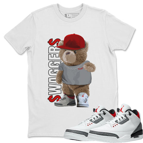 Air Jordan 3 Fire Red Sneaker Matching Tee and Outfits Bear Swaggers White Shirt Image