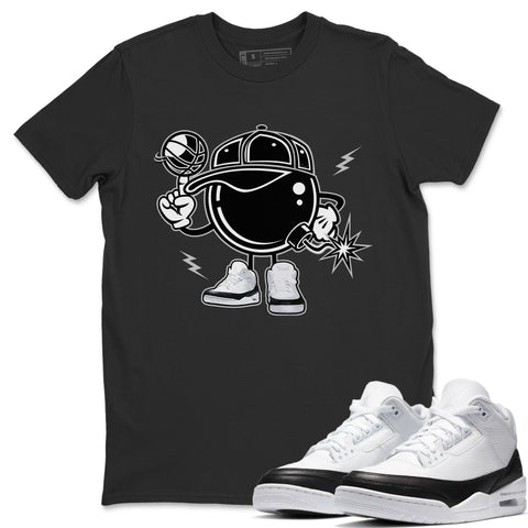 Air Jordan 3 SE Fragment Sneaker Shirts And Sneaker Matching Outfits Basket Bomber Black T Shirt Image