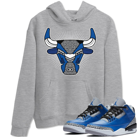 Air Jordan 3 Varsity Royal Cement Sneaker Hoodies And Sneaker Matching Outfits Bull Head Light Heather Grey Hooded Sweater Image