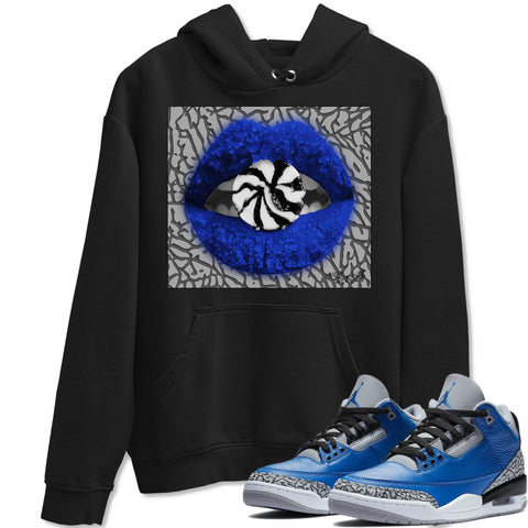 Air Jordan 3 Varsity Royal Cement Sneaker Hoodies And Sneaker Matching Outfits Lips Candy Black Hooded Sweater Image