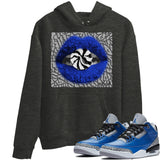 Air Jordan 3 Varsity Royal Cement Sneaker Hoodies And Sneaker Matching Outfits Lips Candy Dark Heather Grey Hooded Sweater Image