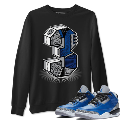Air Jordan 3 Varsity Royal Cement Sneaker Pullover And Sneaker Matching Outfits AJ3 Three Statue Black Sweatshirt Image