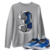 Air Jordan 3 Varsity Royal Cement Sneaker Pullover And Sneaker Matching Outfits AJ3 Three Statue Heather Grey Sweatshirt Image
