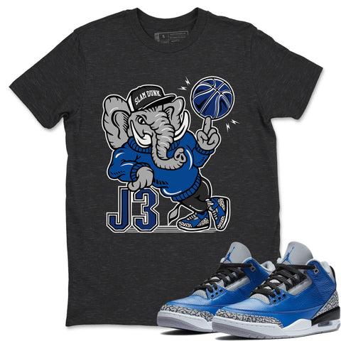 Air Jordan 3 Retro Varsity Royal Blue Cement Sneaker Shirts And Sneaker Matching Outfits AJ3 Elephant Charcoal Grey Shirt Image