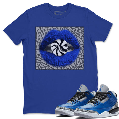 Air Jordan 3 Retro Varsity Royal Blue Cement Sneaker Shirts And Sneaker Matching Outfits Lips Candy Royal Blue Shirt Image