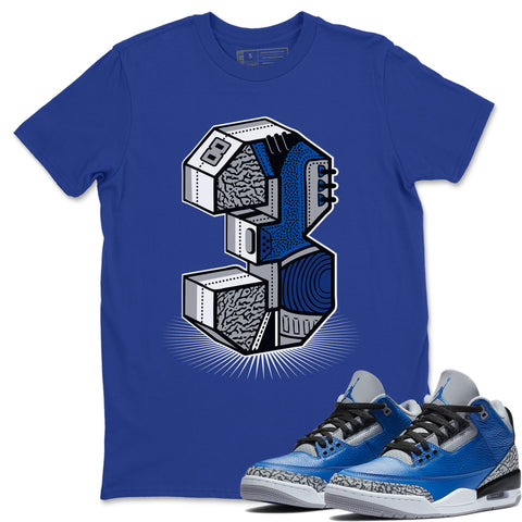 Air Jordan 3 Retro Varsity Royal Blue Cement Sneaker Shirts And Sneaker Matching Outfits Three Statue Royal Blue Shirt Image