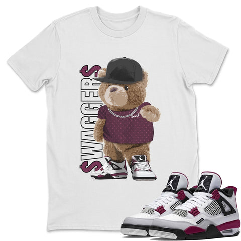 Air Jordan 4 PSG Sneaker Shirts And Sneaker Matching Outfits Bear Swaggers White T Shirt Image
