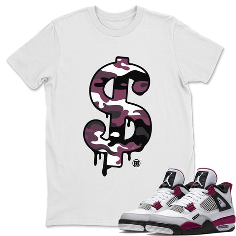 Air Jordan 4 PSG Sneaker Shirts And Sneaker Matching Outfits Dollar Camo White T Shirt Image