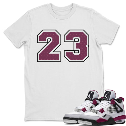 Air Jordan 4 PSG Sneaker Shirts And Sneaker Matching Outfits 23 White T Shirt Image