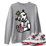 Air Jordan 4 Retro Fire Red Sneaker Sweatshirts And Sneaker Matching Outfits Dead Dolls Heather Grey Long Sleeve Pullovers Image