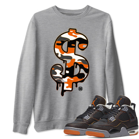 Dollar Camo Unisex Sweatshirt - Air Jordan 4 WMNS Retro Starfish Black Orange Sneaker Matching Outfits Starfish 4s Womens Long Sleeve Heather Grey AJ4 Pullover S