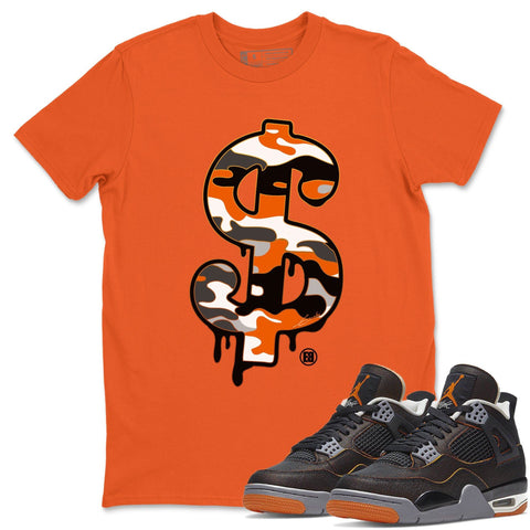 Air Jordan 4 WMNS Retro Starfish Sneaker Crew Neck Unisex T Shirt Matching Outfits AJ4 Womens Orange Dollar Camo Short Sleeve Tees 4s Black Orange Image Orange S