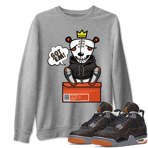 Got Em Unisex Sweatshirt - Air Jordan 4 WMNS Retro Starfish Black Orange Sneaker Matching Outfits Starfish 4s Womens Long Sleeve Heather Grey AJ4 Pullover S