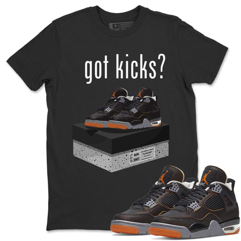 Air Jordan 4 WMNS Retro Starfish Sneaker Crew Neck Unisex T Shirt Matching Outfits AJ4 Womens Orange Got Kicks Short Sleeve Tees 4s Black Orange Image Black S