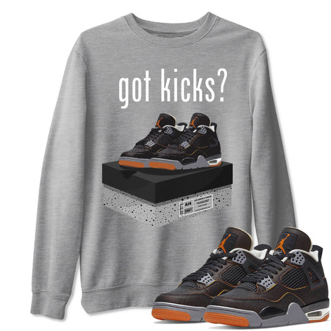 Got Kicks Unisex Sweatshirt - Air Jordan 4 WMNS Retro Starfish Black Orange Sneaker Matching Outfits Starfish 4s Womens Long Sleeve Heather Grey AJ4 Pullover S