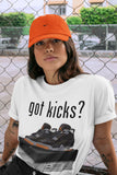 Air Jordan 4 WMNS Retro Starfish Sneaker Crew Neck Unisex T Shirt Matching Outfits AJ4 Womens Orange Got Kicks Short Sleeve Tees 4s Black Orange Image White S 4