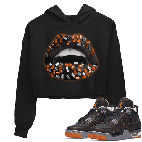 Air Jordan 4 Retro WMNS Starfish Black Orange Sneaker Long Sleeve Women Crop Hoodie And Outfits 4s Womens Lips Jewel Black AJ4 Hoodies S