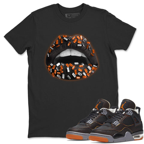 Air Jordan 4 WMNS Retro Starfish Sneaker Crew Neck Unisex T Shirt Matching Outfits AJ4 Womens Orange Lips Jewel Short Sleeve Tees 4s Black Orange Image Black S