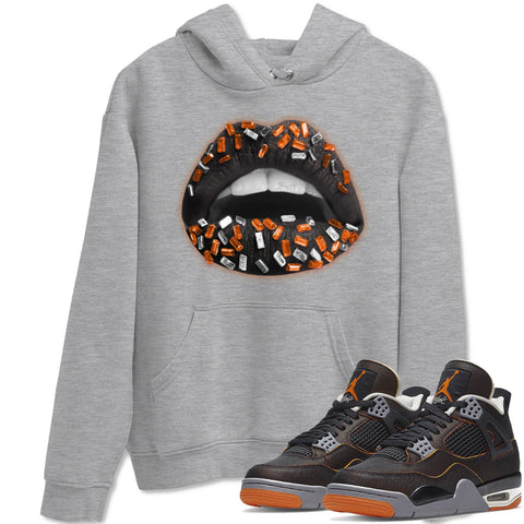 Lips Jewel Unisex Hoodies - Air Jordan 4 WMNS Retro Starfish Black Orange Sneaker Matching Outfits Starfish 4s Womens Long Sleeve Heather Grey AJ4 Hoodie S