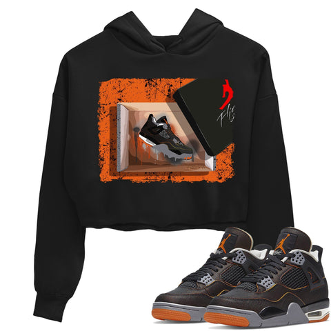 Air Jordan 4 Retro WMNS Starfish Black Orange Sneaker Long Sleeve Women Crop Hoodie And Outfits 4s Womens New Kicks Black AJ4 Hoodies S