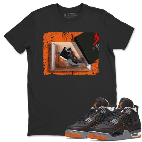 Air Jordan 4 WMNS Retro Starfish Sneaker Crew Neck Unisex T Shirt Matching Outfits AJ4 Womens Orange New Kicks Short Sleeve Tees 4s Black Orange Image Black S