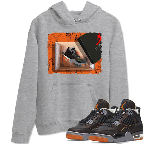 New Kicks Unisex Hoodies - Air Jordan 4 WMNS Retro Starfish Black Orange Sneaker Matching Outfits Starfish 4s Womens Long Sleeve Heather Grey AJ4 Hoodie S