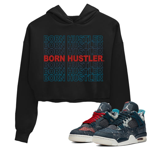 Air Jordan 4 SE Deep Ocean Sashiko Sneaker Unisex Crew Neck Long Sleeve Crop Womens Born Hustler Crop Hoodie Black Hoodies S