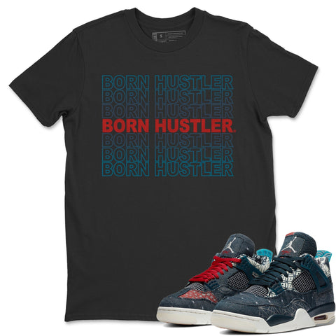 Air Jordan 4 SE Deep Ocean Sashiko Sneaker Unisex Crew Neck T Shirt Matching Outfits Born Hustler Black Short Sleeve Tees Image S
