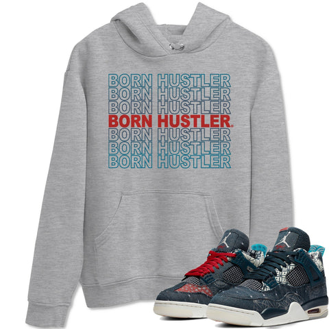 Air Jordan 4 SE Deep Ocean Sashiko Sneaker Unisex Long Sleeve Hoodies And Sneaker Matching Outfits Born Hustler Heather Grey Long Sleeve Hoodie  S