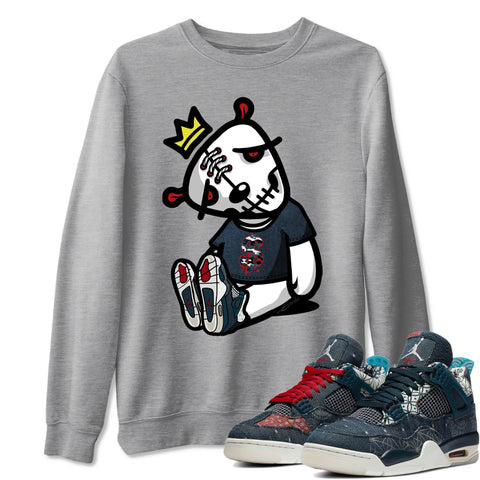 Dead Dolls Unisex Sweatshirt - Air Jordan 4 SE Deep Ocean Sashiko Sneaker Matching Outfits Long Sleeve Heather Grey Pullover S