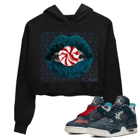 Air Jordan 4 SE Deep Ocean Sashiko Sneaker Unisex Crew Neck Long Sleeve Crop Womens Lips Candy Crop Hoodie Black Hoodies S