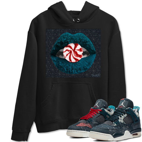 Air Jordan 4 SE Deep Ocean Sashiko Sneaker Unisex Long Sleeve Hoodies And Sneaker Matching Outfits Lips Candy Black Long Sleeve Hoodie  S