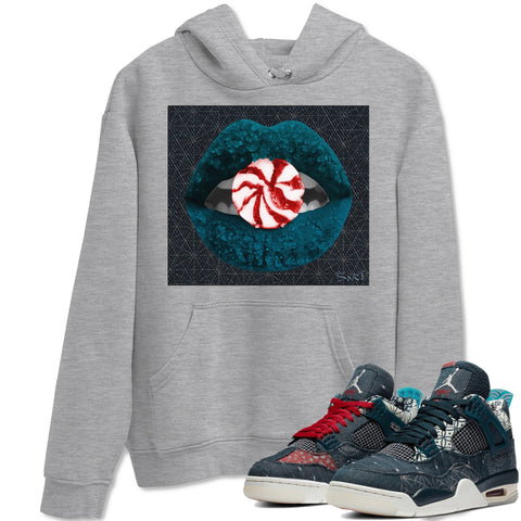 Air Jordan 4 SE Deep Ocean Sashiko Sneaker Unisex Long Sleeve Hoodies And Sneaker Matching Outfits Lips Candy Heather Grey Long Sleeve Hoodie  S