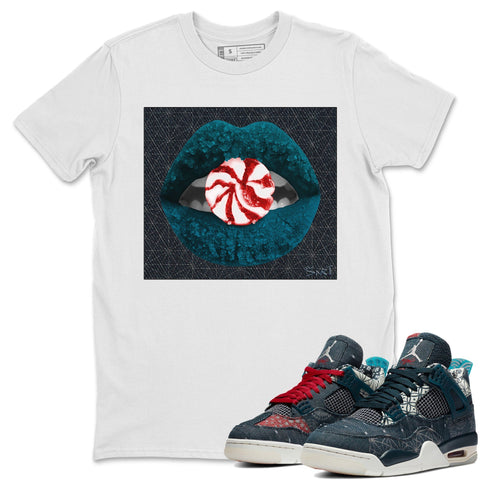 Air Jordan 4 SE Deep Ocean Sashiko Sneaker Unisex Crew Neck T Shirt Matching Outfits Lips Candy White Short Sleeve Tees Image S
