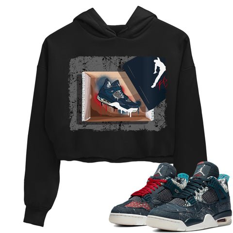 Air Jordan 4 SE Deep Ocean Sashiko Sneaker Unisex Crew Neck Long Sleeve Crop Womens New Kicks Crop Hoodie Black Hoodies S