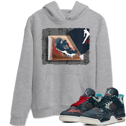 Air Jordan 4 SE Deep Ocean Sashiko Sneaker Unisex Long Sleeve Hoodies And Sneaker Matching Outfits New Kicks Heather Grey Long Sleeve Hoodie  S