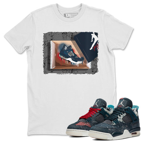 Air Jordan 4 SE Deep Ocean Sashiko Sneaker Unisex Crew Neck T Shirt Matching Outfits New Kicks White Short Sleeve Tees Image S