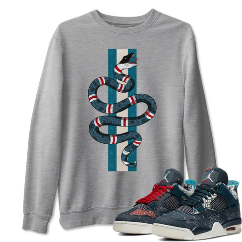 Snake Unisex Sweatshirt - Air Jordan 4 SE Deep Ocean Sashiko Sneaker Matching Outfits Long Sleeve Heather Grey Pullover S