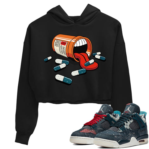 Air Jordan 4 SE Deep Ocean Sashiko Sneaker Unisex Crew Neck Long Sleeve Crop Womens Sneaker Addiction Crop Hoodie Black Hoodies S