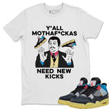 Air Jordan 4 Union Off Noir Sneaker Matching Tees and Outfit Y'all Need New Kicks White T Shirt Image