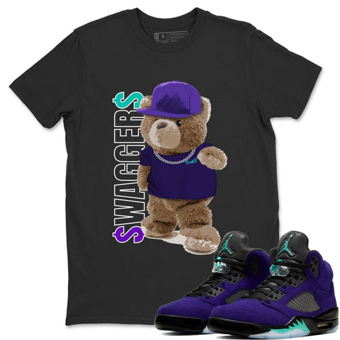 Bear Swaggers T-Shirt - Air Jordan 5 Purple Grape Air Jordan 5 Shirt Jordan 5 Purple Grape Black S