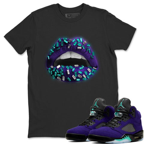 Lips Jewel T-Shirt - Air Jordan 5 Purple Grape Air Jordan 5 Shirt Jordan 5 Purple Grape Black S