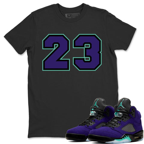 Number 23 T-Shirt - Air Jordan 5 Purple Grape Air Jordan 5 Shirt Jordan 5 Purple Grape Black S