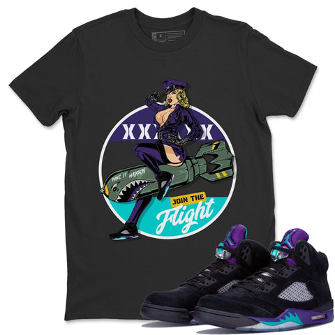 Pin Up Girl T-Shirt - Air Jordan 5 Black Grape Air Jordan 5 Shirt Jordan 5 Black Grape Black S