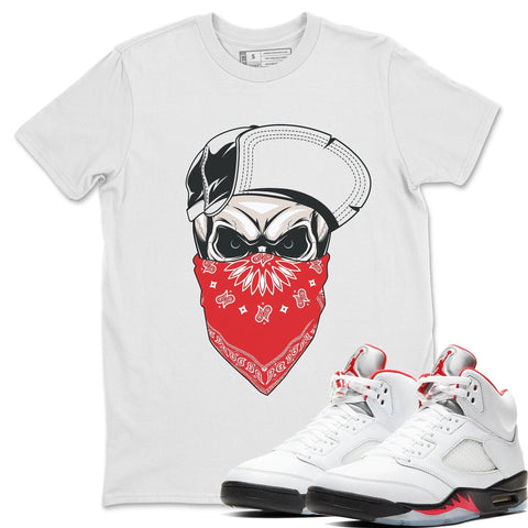 Skull Hat T-Shirt - Air Jordan 5 Fire Red Air Jordan 5 Shirt Jordan 5 Fire Red White S