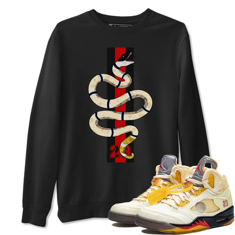 Air Jordan 5 Off White Sail Fire Red Collabs Sneaker Crew Neck Long Sleeve Pullover Snake Black Sweatshirt Outfits S