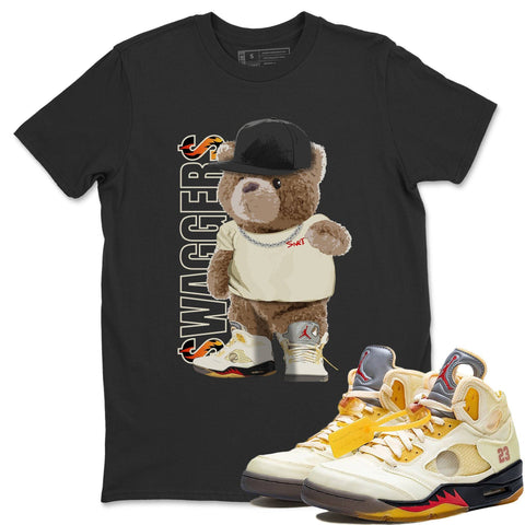 Air Jordan 5 Off White Sail Fire Red Collabs Sneaker Short Sleeve Shirts And Outfits Bear Swaggers Black Tees S